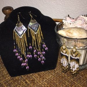 NORDSTROM Beaded Dangle Chandelier Earrings